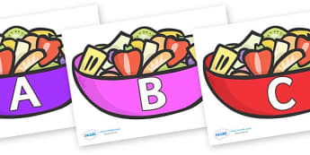 A-Z Alphabet on Fruit Salad - A-Z, A4, display, Alphabet frieze, Display letters, Letter posters, A-Z letters, Alphabet flashcards