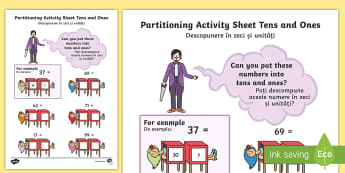 Maths Magician Partitioning Activity Sheet Tens Units English/Romanian - Maths Magician Partitioning Worksheet Tens Units - numeracy, paritioning, numracy, Partisioning, pat