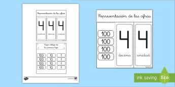 Ficha de actividad: Centenas, decenas y unidades con ventanillas - ventanillas, descomposición de números, descomponer, valor posicional, valor de las cifras, decena