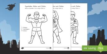 Superhelden Malen nach Zahlen - Superheroes Colour by Number - colour, number, superheroes, super, superhereos, coloyur by number, s