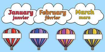 Editable Hot Air Balloon Birthday Display Balloons French Translation - french, birthday, birthday display, editable birthday display, classroom display, classroom management, hot air balloon