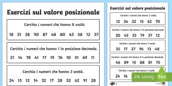 Vealore Posizionale Esercizio Numeri a due Cifre - valore, posizionale, matematica, mate, esercizio, unità, decine, italiano, italian