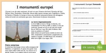 Monumenti Europei Lettura Comprensiva - europa, monumenti, europei, lettura, comprensiva, leggere, domande, italiano, italian