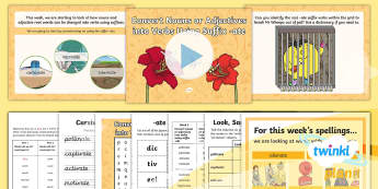 PlanIt Spelling Y5 Term 2B W3: Convert Nouns or Adjectives into Verbs Using the Suffix  '-ate' Spelling Pack  - Spellings Year 5, Y5, ate, suffix, suffixes, SPaG, GPS, weekly, lists, weeks, pack, spelling, spell,