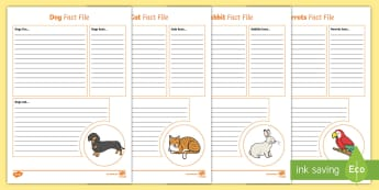 Pet Fact File Activity Sheets - Pets, cat, dogs, rabbits, budgie, guinea pig, hamster, snake, animals, factfiles, writing frames, wo