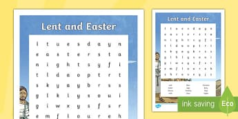 Lent and Easter Word Search - KS1 & 2 Easter 2017 (16th April)