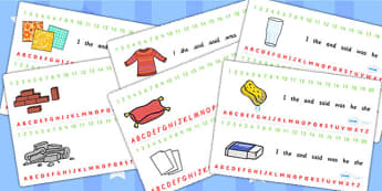 Materials Combined Number and Alphabet Strips - material, strips