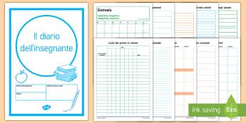 Il diario dell'insegnante Opuscolo - diario, di, classe, registro, piano, schema, valutazione, italiano, italian, scuola, scolastico, ins