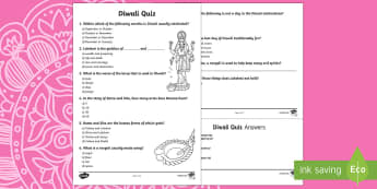 KS2 Diwali Quiz Activity Sheet