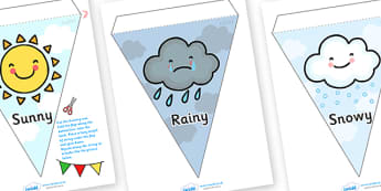 Weather Symbols and Names Display Bunting - weather bunting, weather and the seasons, weather symbols, types of weather, types of weather bunting, bunting
