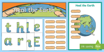Heal the Earth Display Pack - Earth Day, environment, population, geography