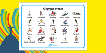 The Olympics Sports Events Word Mat - rio 2016, rio olympics, 2016 olympics, sports events, word mat