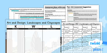 PlanIt - Art and Design KS1 - Landscapes and Cityscapes Unit Assesment Pack - assessment, record, data, baseline, nation, pack, objectives, criteria, success, national, curriculum,