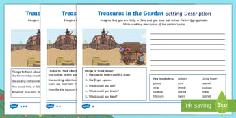 Treasures in the Garden Pirate Setting Description Differentiated Activity Sheets - setting, describe, writing, character, feeling, fantasy, adventure, adjectives