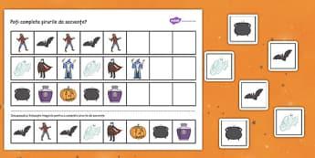 Simboluri de Halloween - Continuă șirul - Halloween, completează modelul, șirul, șir, continuă șirul, simboluri, pisică, dovleac, vrăjitoare, romanian, materiale, materiale didactice, română, romana, material, material didactic