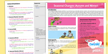 PlanIt Year 1 Seasonal Changes Autumn and Winter Planning Overview - nature, science, ks1, key stage 1, weather, seasons, snow, plants, temperature, plan, notes