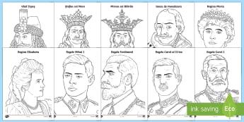Personalități istorice - Pagini de colorat - personalități istorice, cuza, familia regală, domnitorii, istorie,