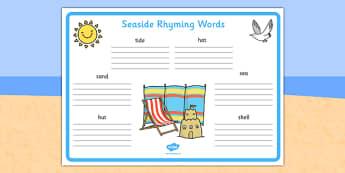 Seaside Rhyming Words Worksheet - seaside, sea side, rhyme, words