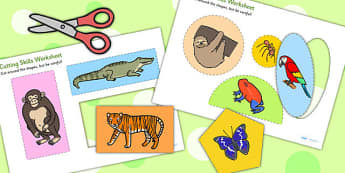 Jungle Themed Cutting Skills Worksheets - cut, fine motor skills