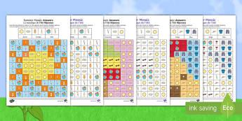 Summer Mosaic Images Activity Sheets English/French - summer, mosaic, colouring, activity sheets, worksheets, seasons, visual art,Irish, worksheets, EAL,
