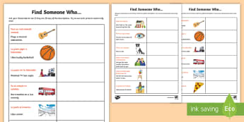 Find Someone Who Activity Sheet - Transition, MFL, Spanish, year 6, year 7, find, someone, who, activity, sheet, worksheet, game, ice,