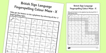 British Sign Language Left Handed Fingerspelling Colour Maze X