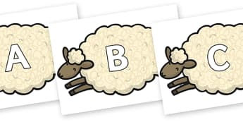 A-Z Alphabet on Sheep - A-Z, A4, display, Alphabet frieze, Display letters, Letter posters, A-Z letters, Alphabet flashcards
