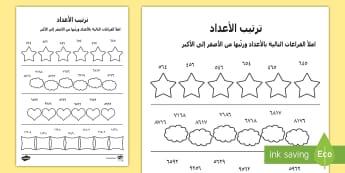 نشاط ترتيب الأعداد حسب القيمة المكانية -  ترتيب، الأصغر، الأكبر، المرحلة الابتدائية، المعلّم،