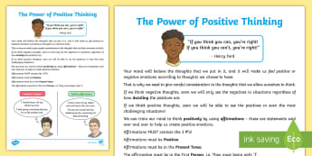 The Power of Positive Thinking Activity Sheet - PSHE, positivity, encouragement, problems, worries, emotions, self-help