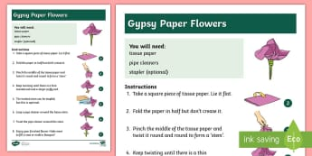 KS1 Gypsy Flower Paper Craft - KS1, craft, paper craft, tissue paper, pip cleaners, instructions, Gypsy paper flowers, Gypsy craft,