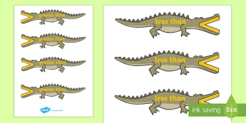 Greater Than And Less Than (Crocodiles, Small) - greater than, less than, maths, numeracy, greater than symbol, less than symbol