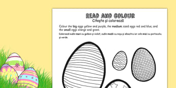Easter Egg Read and Colour Activity Sheet Romanian Translation - romanian, easter, easter egg, worksheet