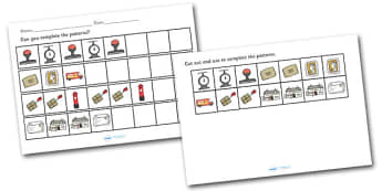 Post Office Pattern Activity Sheet Pack - post office, the post office, post office pattern activity, activity, worksheets, sheets, activity sheets, post office activity, pattern sequences, image sequences, sequence sheets, complete the pattern, comp