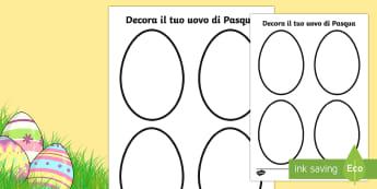 Decora il tuo Uovo di Pasqua Attività - decora, uovo, di, pasqua, pasquale, uova, cioccolato, colori, colorare, fogli, italiano, italian