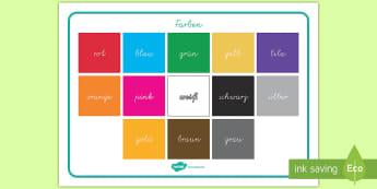 Farben Wortschatz: Querformat - Farben Wortschatz Querformat, Farben Wortschatz, Farben,gelb, grün, blau, lila, rot,German