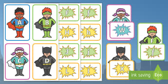 Superhero Themed Letter Match - superhero, letter match, superhero themed letter match, superhero letter matching, letter matching, hero themed