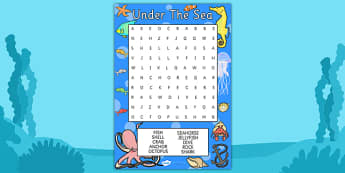 Under the Sea Wordsearch - under the sea wordsearch, under the sea, wordsearch, words, search, activity, circle words,  Under the sea, sea, seaside, water, tide, fish, sea creatures, shark, whale, marine, dolphin, starfish, waves, sand