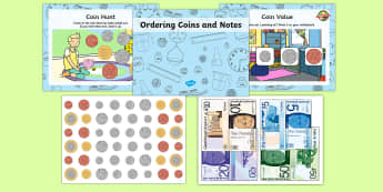 CfE Ordering Coins and Money Lesson Pack - cfe, curriculum for excellence, ordering coins, ordering money, coins and money, lesson pack, lesson, maths, mathematics, order