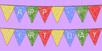 Happy 80th Birthday Bunting - 80th birthday party, 80th birthday, birthday party, bunting