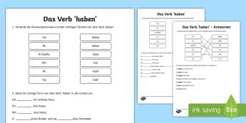 Verb Haben Arbeitsblatt  - Deutsch, Grammatik, DAF, DAZ, Verben, Komjugation, Haben, konjugieren,German