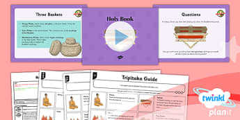 PlanIt - RE Year 4 - Buddhism Lesson 5: Holy Book Lesson Pack - buddhist, Buddha, special, book, Tripitaka