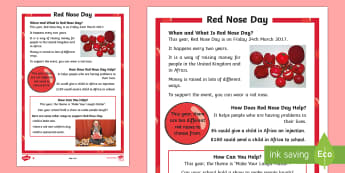 KS1 Comic Relief (Red Nose Day) Differentiated Fact File - Red Nose Day, Red Nose Day 2017, Charity, Fundraising, Comic Relief, Money, Africa, United Kingdom,