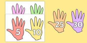 Counting in 5s Numbers on Hands - counting aid, count, numeracy, Count in 5s, fives, skip counting, multiply of five