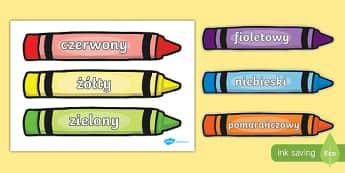 Kolory na kredkach po polsku -przedszkole
