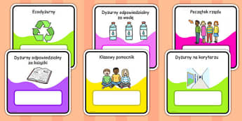Monitor and Job cards Polish - responsibility, information, roles, choice, classroom organisation, rota, schedule, ks1, ks2
