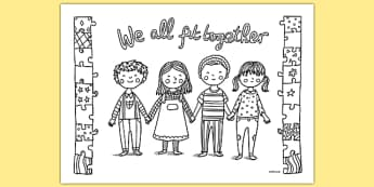 We All Fit Together Mindfulness Colouring Sheet -adult colouring, returning, pshe, academic year, ks1, ks2, art, colour, in the lines, equality, acceptance, unity, inclusion