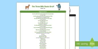 The Three Billy Goats Gruff Book List - EYFS, Early Years, KS1, The Three Billy Goats Gruff, traditional tales, goats, troll, bridges, Liter