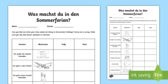 Our Holiday Plans Class Survey Activity - German - Holiday, Summer, Summer Holiday, German, MFL, Languages