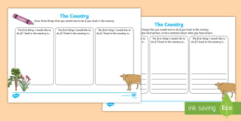 Under Eights Week: The Country Writing Frames - language, spelling, literacy, descriptive, drawing, bush, rural