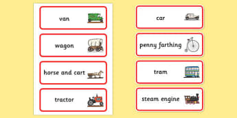 Old Transport Word Cards - Transport, word card, flashcards, car, van, lorry, bike, motorbike, plane, aeroplane, tractor, truck, bus